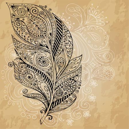 Artistiek getrokken, gestileerde vector tribale grafische veren met de hand getrokken doodle swirl patroon. Grunge achtergrond. Illustratie is gemaakt op basis van een persoonlijke schets door trace. Serie van doodle veer.