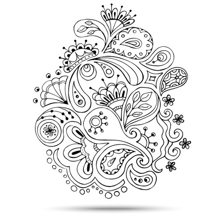 Henna Paisley Mehndi Doodles Abstract Floral Vector Illustration Design Element. Colored Version. Ilustrace