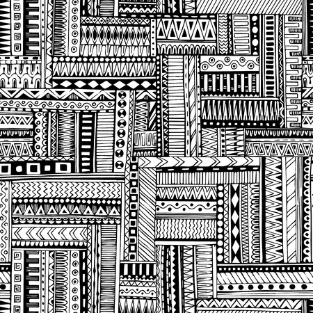 american indian: Abstract striped, textured, geometric tribal seamless pattern. Vector black and white background. Endless texture can be used for wallpaper, pattern fills, web page background,surface textures. Monochrome geometric ornaments.