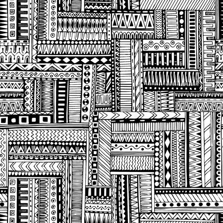 indio americano: Rayado abstracto, textura, modelo geométrico inconsútil tribal. Vector blanco y negro de fondo. Textura sin fin se puede utilizar para el papel pintado, patrones de relleno, de fondo página web texturas de la superficie. Monocromo adornos geométricos.