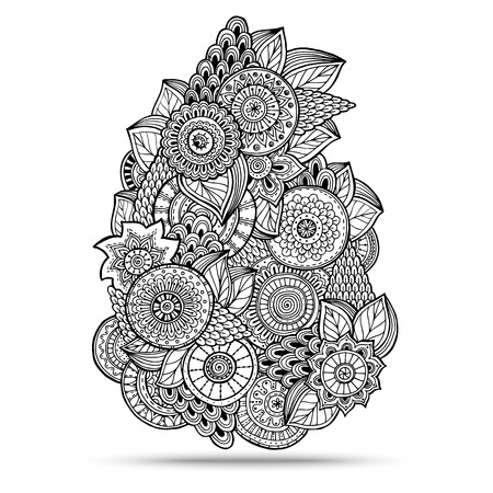 Henna Paisley Mehndi Doodles Abstract Floral Vector Illustration Design Element. Colored Version. Vectores