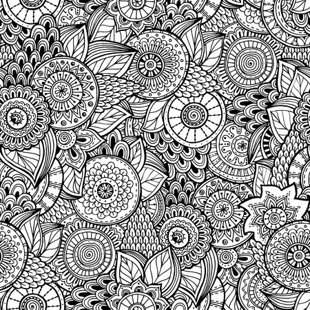 Seamless flower black and white retro background pattern  Vector