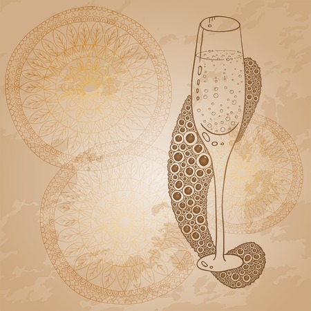 Wine Glass With The Doodle Circular Pattern Vector