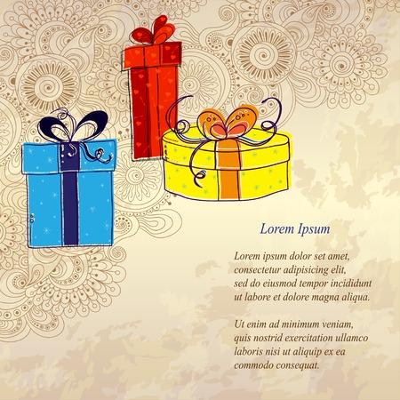 three gift boxes: Tarjeta de vacaciones con tres cajas de regalo
