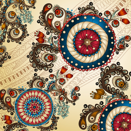 Ornamental colored floral pattern with flowers, doodles and cucumbers Vector