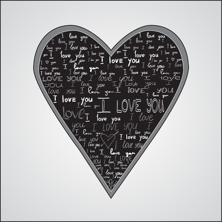 Happy Valentines Day Card Design. 14 February. I Love You. Vector. Chalkboard Design. Heart On Black Background Made Of I Love You Phrase. Vector