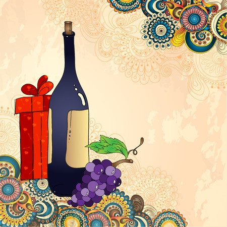 Holiday card with wine bottle, grapes, gift box and art cucumbers on the doodle floral background. Sketch style.