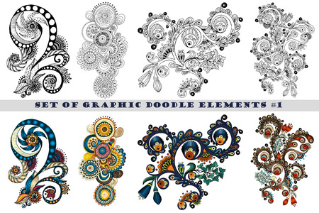 henna: Set of Henna Paisley Mehndi Doodles Abstract Floral Vector Illustration Design Element. Black and White plus Colored Version.