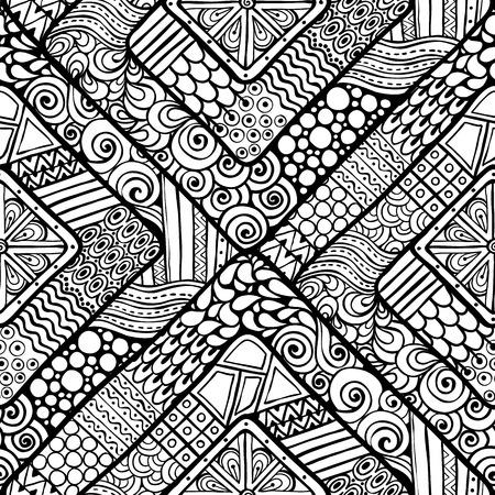 Seamless flower black and white retro background pattern in vector Reklamní fotografie - 32938380