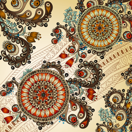 Ornamental colored floral pattern with flowers, doodles and cucumbers Ilustrace