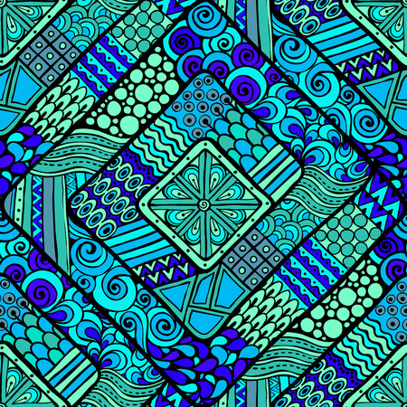 ethno: Original drawing tribal doddle rhombus. Seamless pattern with geometric elements.