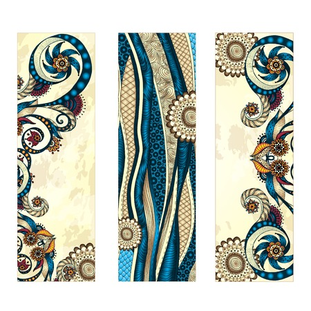 Abstract vector ethnic pattern card set. Vector