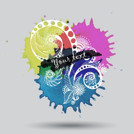 Vector watercolor abstract design with doodle Vector