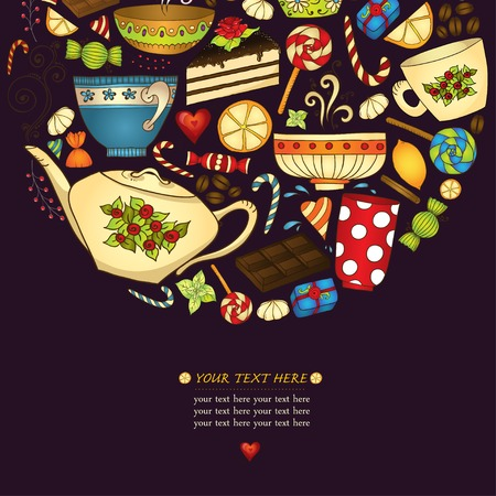 Tea, coffe and sweets doodle template patern invitation. Vector