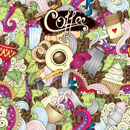 Hand-Drawn Coffee  Doodle Vector Illustration. Vector