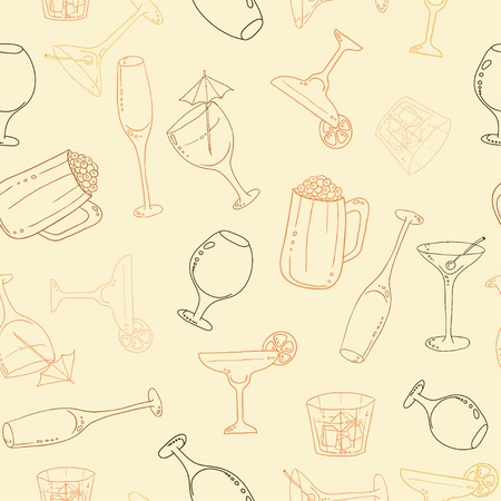 Wine and cocktail seamless background. Vector