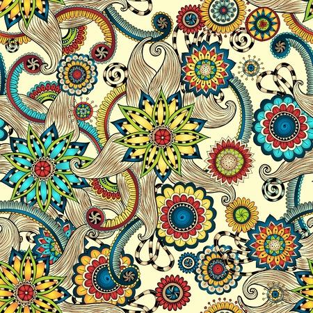 paisley wallpaper: Doodles Design Seamless Pattern. Illustration