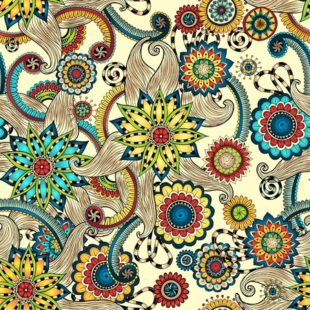 Doodles Design Seamless Pattern. Illustration