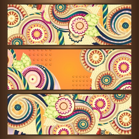 Ethnic Pattern Cards With Paisley Doodles. Vector