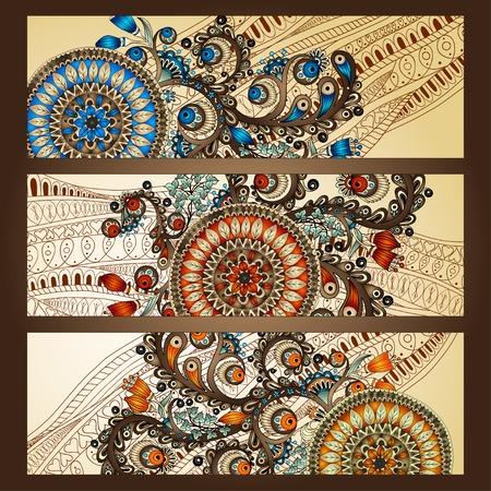 batik: Abstract vector hand drawn ethnic pattern card set Illustration