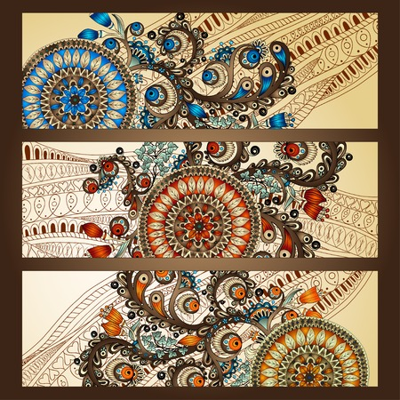 Abstract vector hand drawn ethnic pattern card set Illustration
