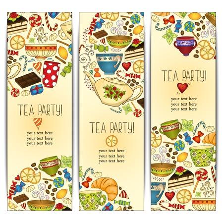 Banner templates vector collection. Tea party. Vector
