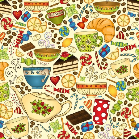 Tea and coffee doodle seamless pattern. Vector