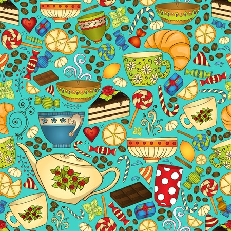 Tea and coffee doodle seamless pattern. Ilustrace