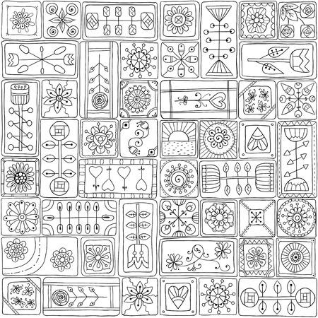 sampler: Seamless pattern with doodle frames. Illustration