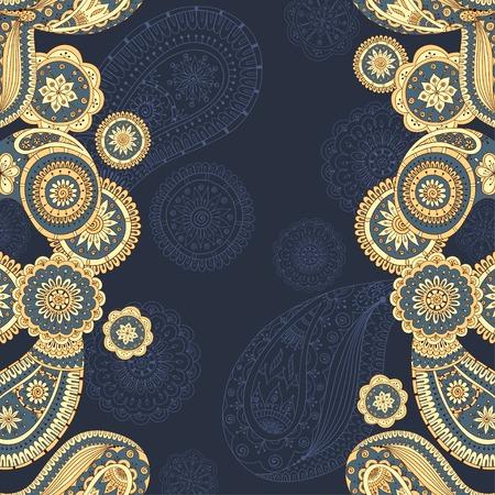 Henna paisley mehndi doodles asian design pattern.