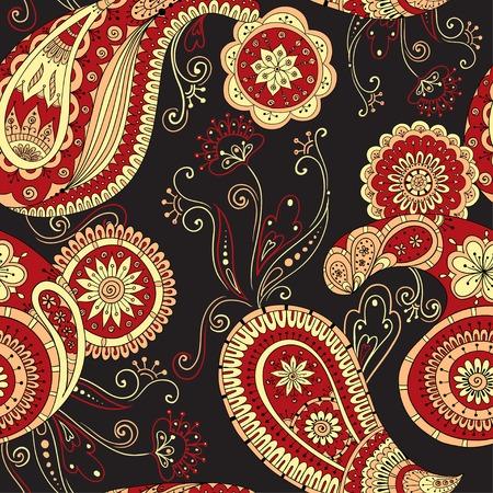 textile design: Henna paisley mehndi doodles asian design pattern.