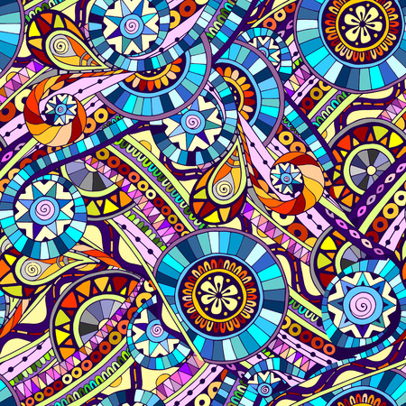 Original mosaic drawing tribal doddle ethnic pattern. Seamless background with geometric elements. Used clipping mask for easy editing. Reklamní fotografie - 33336710