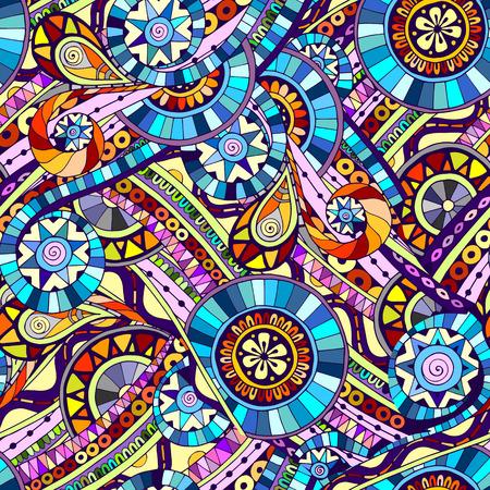 Originele mozaïek tekening tribale doddle etnische patroon. Naadloze achtergrond met geometrische elementen. Gebruikte uitknipmasker voor eenvoudige bewerking.