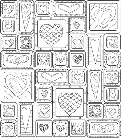 Collection of original drawing doodle hearts. Template frame design for love card with set of doodle hearts. Black and white version.