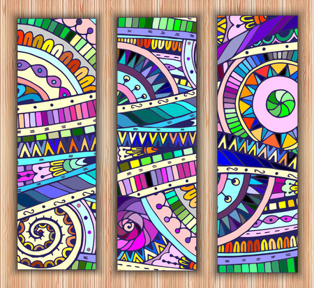 Set of abstract doodle tribal vector cards. Vector