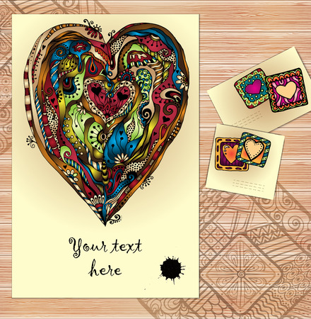 Set of doodle tribal vector love cards on wood. Vector