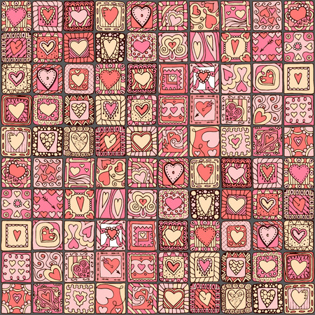 Seamless pattern of original doodle hearts. Vector