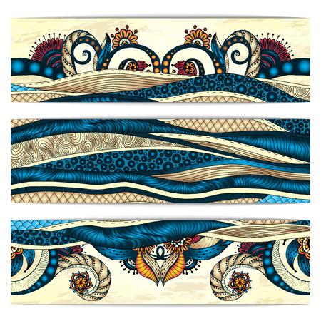 batik: Paisley fond de batik. Ensemble de trois abstraites cartes vectorielles ethniques main africain tirées. Série de conception du châssis image de modèle de la carte.