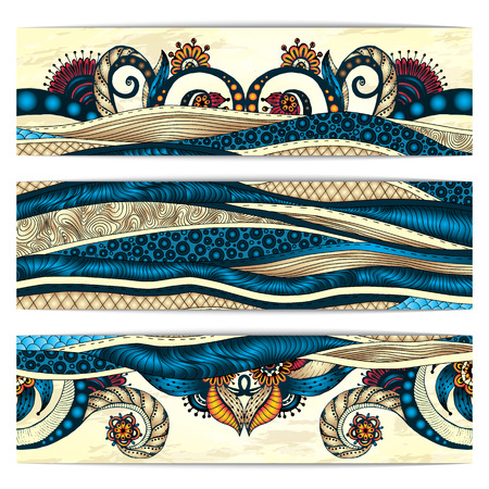 Paisley batik background. Set of three abstract ethnic african hand drawn vector cards.  Series of image Template frame design for card.