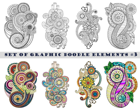 Set of Henna Paisley Mehndi Doodles Abstract Floral Vector Illustration Design Element. Black and White plus Colored Version. Vector