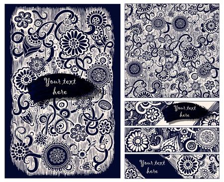 Paisley batik background. Ethnic doodle cards. Çizim