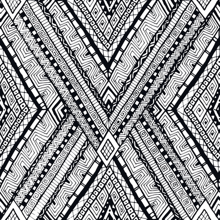 Original drawing tribal doddle rhombus background. Seamless pattern with geometric elements. Black and white. Vector