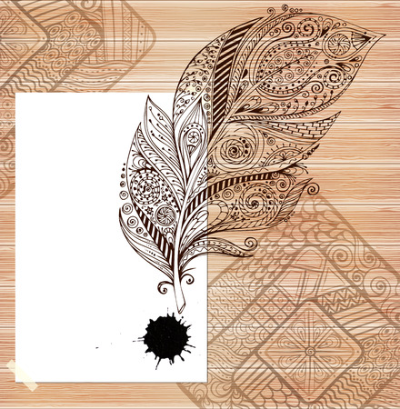 embroidery designs: Stylish presentation of business poster, flyer, cover, invitation, design layout template. Folder design content wood background. Decorative ornamental abstract doodle feather, paint stain in vector. Illustration