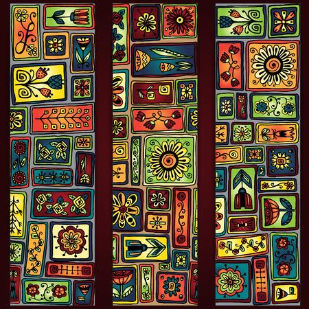 sampler: Conjunto de tres abstractos �tnicos mano africano dibujados tarjetas de vectores. Sampler flores de bosquejo, hojas, corazones. Modelo geom�trico. Dise�o del marco del modelo para la tarjeta con un conjunto de rect�ngulos del doodle.