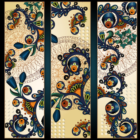batik: Paisley batik background. Set of three abstract ethnic african hand drawn vector cards.  Series of image Template frame design for card.