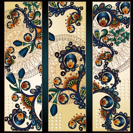 batik: Paisley fond de batik. Ensemble de trois abstraites cartes vectorielles ethniques main africain tir�es. S�rie de la conception du cadre de l'image mod�le de la carte.