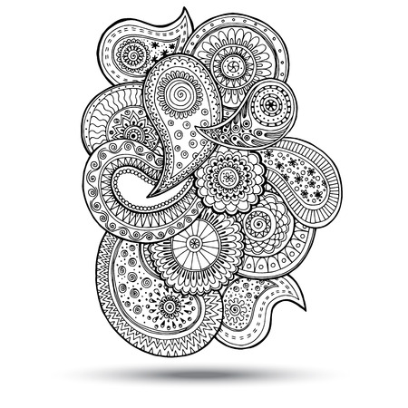 Henna Paisley Mehndi Doodles Abstract Floral  Illustration Design Element. Colored Version.