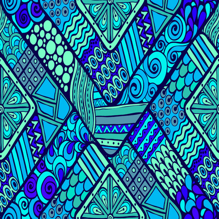 ethno: Original drawing tribal doddle rhombus. Seamless pattern with geometric elements. Used clipping mask for easy editing.