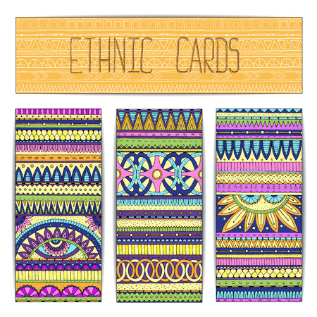Tribal texture. Template frame design for card. Illustration