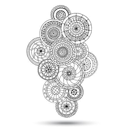 ornamental: Henna Paisley Mehndi Doodles Design Element.